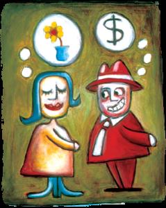 She imagines bliss, the estate agent imagines money